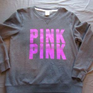 Womens Victoria's Secret Pink Sweater Sz L Gray